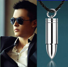 Men Silver Steel Bullet Pendant Necklace Chain Cool Jewelry Gift 2016