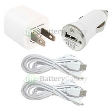 2 White USB 6FT Cord+Car+Mini Wall Charger for Samsung Galaxy S6/Edge/Core Prime