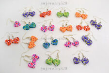 FREE Wholesale lot 8Pairs polymer clay flowers dangle Silver tone heart earring