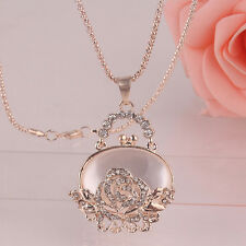 """Women 14K Gold Plated 30"""" Crystal Pendant Dress Chain Necklace D524"""