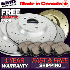 Z0928 2004 2005 2006 LANCER RALLIART Cross Drilled Brake Rotors Pads FRONT+REAR