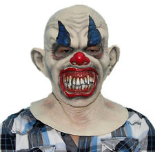 Creepy Evil Scary Halloween Clown Mask Rubber Latex Blue Smiling Clown FREE SHIP