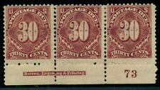 US #J36 30¢ deep claret Plate No. Imprint Strip, faults Miller cert Scott $2,250