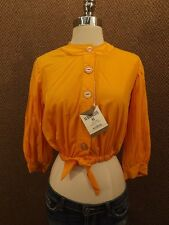Rare Vtg 1950s Rockabilly Pumpkin Cropped Midriff Showing Top Shirt S NEW NOS