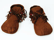 Mens Fabric Moccasin Style Shoes Red Indian Hippy Footwear Fancy Dress