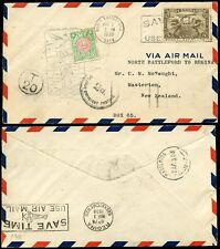 POSTAGE DUE NEW ZEALAND 1930 CANADA FLIGHT COVER 2d MASTERTON DOUBLE DEFICIENT