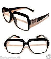 Men's Vintage Design Lens Glasses Run DMC Old School Black Clear Silver Retro