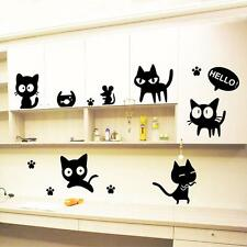 DIY Home Decor Cat Black Cats Mural Removable Decal Room Wall Sticker Vinyl Art
