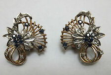 Vintage Diamond & Sapphire 14carat Gold Retro Flower Cocktail Earrings