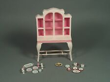 Vintage Barbie Dining Room Cabinet with Dishes and Ceramict Srawberry  Dish Set