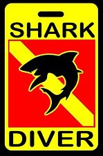 Safety Yellow Shark Diver w/ Silhouette SCUBA Diving Luggage/Gear Bag Tag - New