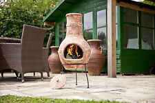 67067 La Hacienda 'Banded' Design Copper effect Clay Chimenea. Large Size