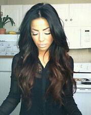 Fashion Long Curly Wavy Ombre Black/Brown Synthetic Wig For Black Women Full Wig