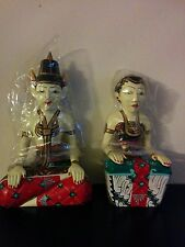 """Traditional A pair Javanese 12""""M/10""""F Hand Craved Hand Painted Loro Blonyo Wed"""