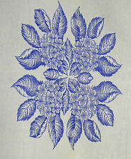 GORGEOUS VINTAGE LINEN HARVEST CLOTH IN BLUE AND WHITE JACQUARD RR302