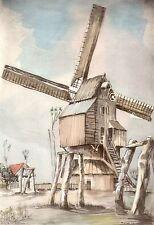 AQUARELLE COULEUR VIEUX MOULIN A VENT/ ancien Moulin du Mont à Merris Nord
