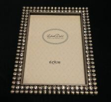 "NEW Lisbeth Dahl Beaded Silver Photo Frame with Crystals, 2.5"" x 3.5"""
