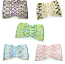 5Pc Chic Stretch Bow Doube Combs Hair Head Cuff Double Insert Clips Hair Jewelry
