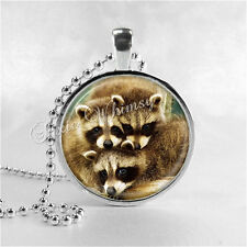 RACCOON Pendant Necklace Jewelry Charm Handmade Glass Art Nature Woodland Forest