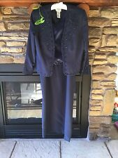 Womens Navy Blue Beaded Dress And Jacket R&M Richards Petite Size 12P 12