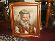 Oil Painting On Canvas-Jewish Man W/Long Beard Smoking Long Pipe-Signed Carino