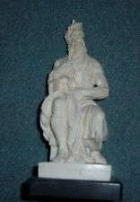 "Carved 8 3/4"" Moses Statue signed A Santini Mose Michelangelo Made in Italy"