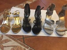 NEW Lot of 3 HOLIDAY PARTY High Heels Get ALL 3 in GOLD, BLACK AND SILVER Size 9