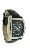 Kenneth Cole KC1655 Mens Black Tonneau Analog Date Stainless Steel Leather Watch
