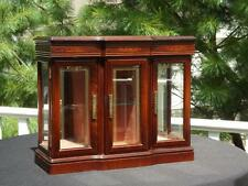 Large Powell Wooden 3 Glass Door Jewelry Box Top Compartment Necklace Holders