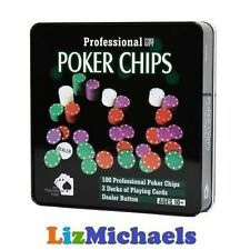 100 PROFESSIONAL POKER CHIPS 2 DECKS PLAYING CARDS DEALER BUTTON IN TIN CASE 10Y
