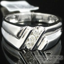 MENS NEW 10K WHITE GOLD .10CT GENUINE REAL DIAMOND WEDDING ANNIVERSARY RING BAND