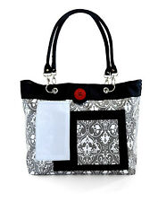 Baby Diaper Bag with Changing Pad ~ 2 Red Hens ~ Grey Damask ~ Grey, Black New