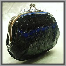 AUTHENTIC COACH EMBOSSED LIQUID GLOSS FRAMED BLACK COIN PURSE NWT F63504 $78