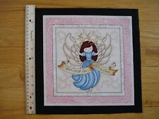 """Believe In Miracles Angel Stars  Cotton Quilt Fabric Block 10"""" x 9 3/4"""""""