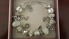 """Authentic Pandora SSilver Charm Bracelet with European Charms Beads LOVE 8.3"""""""