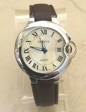 GENEVA DESIGNER STYLE SILVER WOMEN'S WATCH SILVER DIAL BROWN LEATHER BLUE CROWN!