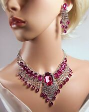 Stunning, Hot Pink Rhinestone & Diamante Necklace & Earrings  (NB042)