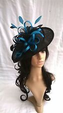 NAVY & TURQUOISE FEATHER FASCINATOR HAT.Shaped saucer Wedding.races hatinator