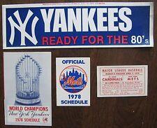 NY Yankees 1978 Schedule, 1980 Bumper Sticker; Mets 1978 Sked & 1975 Spring Sked