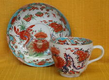 "18thC WORCESTER ""Jabberwocky"" Pattern CUP & SAUCER c1770"