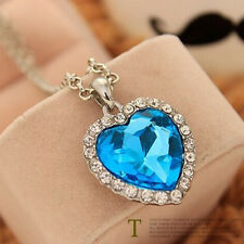 Romantic Heart of The Ocean Blue Sapphire Rhinestone Titanic Necklace Pendant