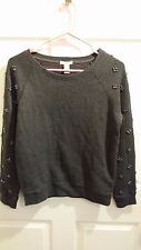 Forever 21 Athletic Knit Sweatshirt Top Gray Beads Long Sleeve S Small Women NWT
