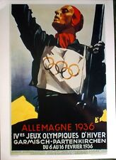 """1936  Bavaria Germany - WINTER OLYMPIC POSTER - IOC Licensed reprint - 13"""" x 18"""""""
