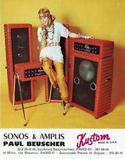 """""""KUSTOM / AMPLIS PAUL BEUSCHER"""" Annonce originale entoilée années 70 24x29cm"""
