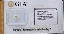 Gia Cert 0,50 ct radiante corte diamante NATURAL fantasia Luz Amarillo Sellado.