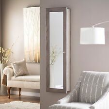 Wall Mounted Jewelry Armoire Mirror Rustic Gray Large Cabinet Locks Box Bedroom