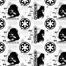 Camelot Star Wars Rogue One 7370104 2 White Darth Vader Cotton Fabric BTY