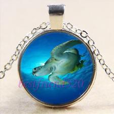 Sea Turtle Photo Cabochon Glass Tibet Silver Chain Pendant Necklace#E5E