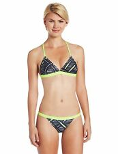 NEW Speedo Sz 6 32 BIKINI 2 PC ATHLETIC Swimsuit RACING Black Neon Lime $66 RV