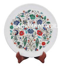 "12"" Marble Round Serving Plate Pietradure Floral Marquetry Art Home Decor H2566"